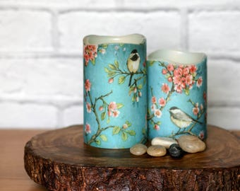 Whimsical Cherry Blossom Candle Gift Set, Set of 2 LED Candles, Bird Print Home Decor, Mothers Day Gift For Her
