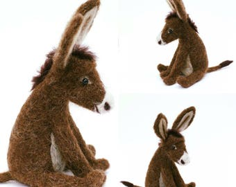 Needle Felted Donkey - cute, quirky, unusual, gift, 100% wool, gift for him, gift for her, donkey gift,