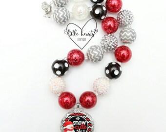Snow Cute, Snowman Necklace, Christmas Necklace, Christmas, Christmas Bubblegum Necklace, Chunky Necklace, Bubblegum Necklace