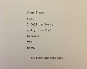 William Shakespeare love quote hand typed on antique typewriter gift girlfriend boyfriend husband wife wedding present birthday valentines