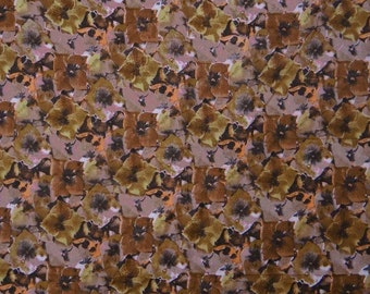 "Craft Fabric, Floral Print Fabric, Home Decor, Brown Fabric, Dressmaking Fabric, 44"" Inch Cotton Fabric By The Yard ZBC1671"