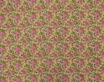 "Indian Dress Fabric, Floral Print, Yellow Fabric, Quilt Material, Home Decor, Sewing Craft, 44"" Inch Cotton Fabric By The Yard ZBC8852A"