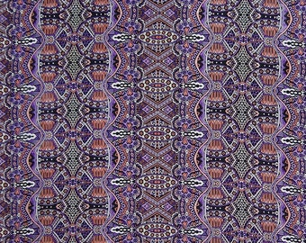 """Indian Dress Fabric, Abstract Print, Black and Purple Fabric, Apparel Fabric, Quilt Material, 40"""" Inch Polyester Fabric By The Yard ZBP87A"""