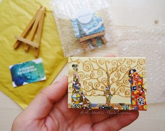 Mini canvas with easel Klimt, tree of life, original, hand-painted acrylic on canvas 5 x 7 cm