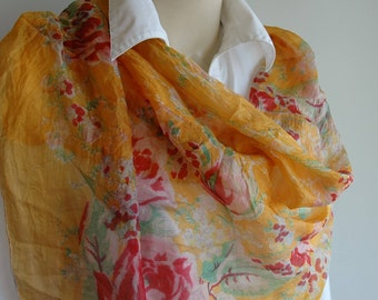 Vintage ladies silk scarf / rolled hem scarf / handpainted flowers / vintage fashion