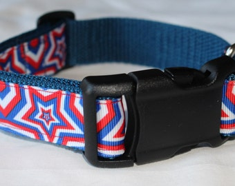 "Patriotic Star Dog Collar - Side Release Buckle (1"" Width) - D-Ring Martingale Option Available"