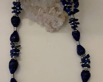 Sapphire and Lapis Chip Necklace