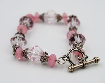 Light pink bead bracelet, chunky pink bead bracelet, large pastel pink bead filigree bracelet, elegant bead filigree jewelry, toggle clasp