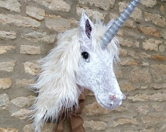 Handmade faux taxidermy silver velvet Unicorn with cream faux fur mane wall mounted animal head trophy