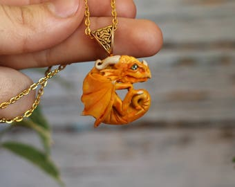 OOAK Yellow sun golden baby dragon pendant necklace charm polymer clay ooak handmade fantasy creature beast jewelery sculpture miniature
