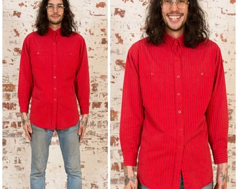 Bright Red Stripe Shirt / 1990s / Size M