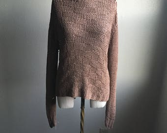 vintage powyniq bluhmod wool knit mocha brown fisherman open knit jumper slouchy sweater made in germany