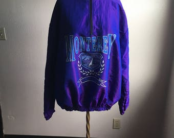 vintage 90s acton monterey california two tone sharkskin pink purple pullover windbreaker track shirt active wear made in usa