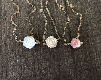 14k gold filled sterling silver white pink champagne Mother of Pearl flower necklace / minimalist / June birthstone / bridesmaid / dainty