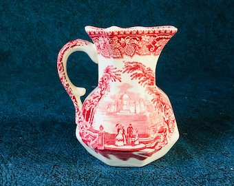Vintage Mason's Pink Vista 10 Ounce Hydra Jug, Red Transferware Pitcher