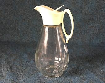 Vintage Log Cabin Glass Syrup Dispenser