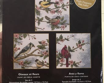 Birds and Blossoms Bucilla Counted Cross Stitch Kit 3 Pictures Sealed 43210 NEW