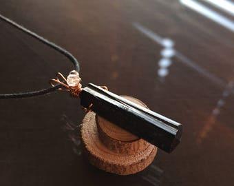 Black Tourmaline and Herkimer Diamond Necklace, Black Tourmaline Necklace