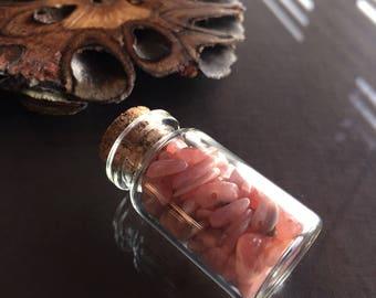 Bottle of Rhodochrosite Crystals, Crystals in a Bottle