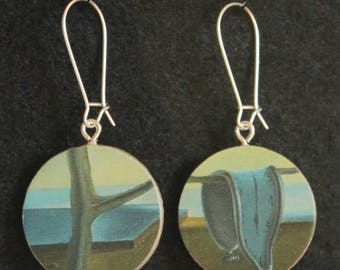 Salvador Dali Persistence of Memory Melting Clocks Handmade Reversible Recycled Paper Earrings
