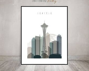 Seattle skyline art print, Seattle poster, Wall art, Travel Gift, City print, Bedroom Decor, Wall Decor, Home Decor, ArtPrintsVicky