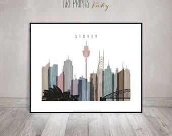 Sydney wall art poster, print, skyline, Travel decor, distressed, Australia art, Typography art, Travel Poster, Home Decor, ArtPrintsVicky