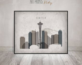 Seattle art print, Seattle Poster, Wall art, Seattle skyline, office decor, travel, Vintage style, Gift, Home Decor, ArtPrintsVicky