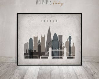 Merveilleux London Print, London Wall Art, London Skyline, Travel Gift, Poster,  Cityscape