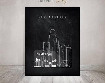 Wall art Los Angeles print, Travel Poster, Wall decor, Los Angeles skyline, gift, chalkboard art, black and white, Home Decor ArtPrintsVicky