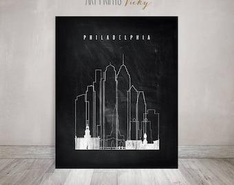 Philadelphia wall art print, Black and white travel poster, travel gift, Philadelphia skyline, Pennsylvania, chalkboard art, ArtPrintsVicky