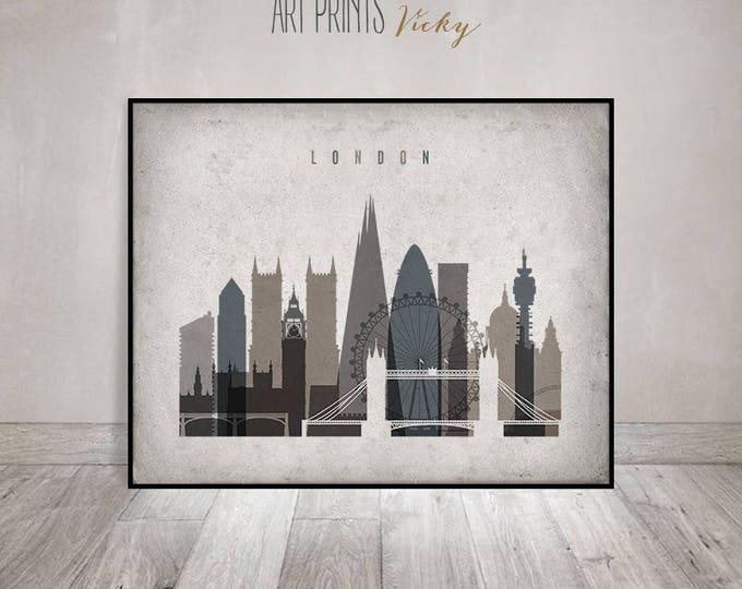London print, London wall art, London skyline, travel gift, poster, cityscape art, travel decor, wall decor, vintage style, ArtPrintsVicky