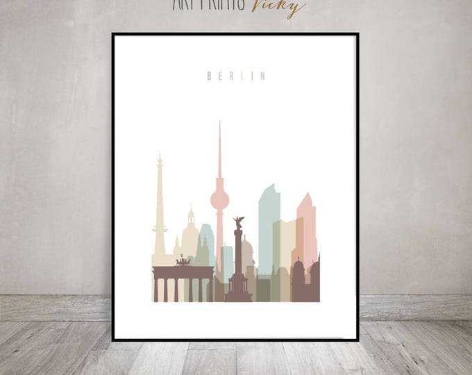 Berlin skyline, Berlin art print, Poster, Travel Decor, Wall art, Housewarming gift, Germany cityscape, Home Decor,  ArtPrintsVicky