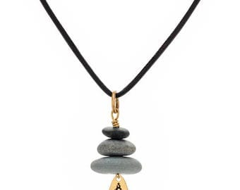 Gold Stone Stack Necklace Cairn Jewelry