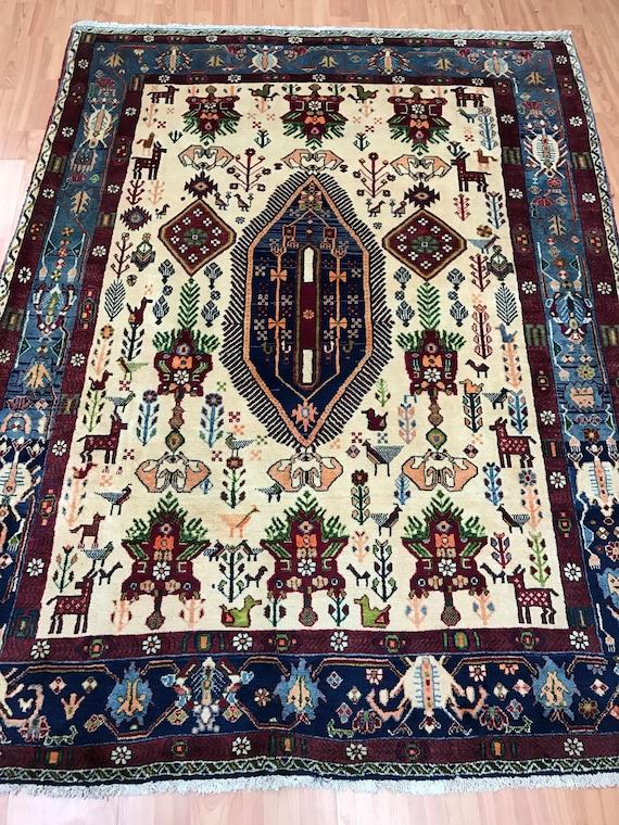 "5'1 x 6'8"" Persian Sirjan Oriental Rug - Full Pile - Hand Made - 100% Wool"