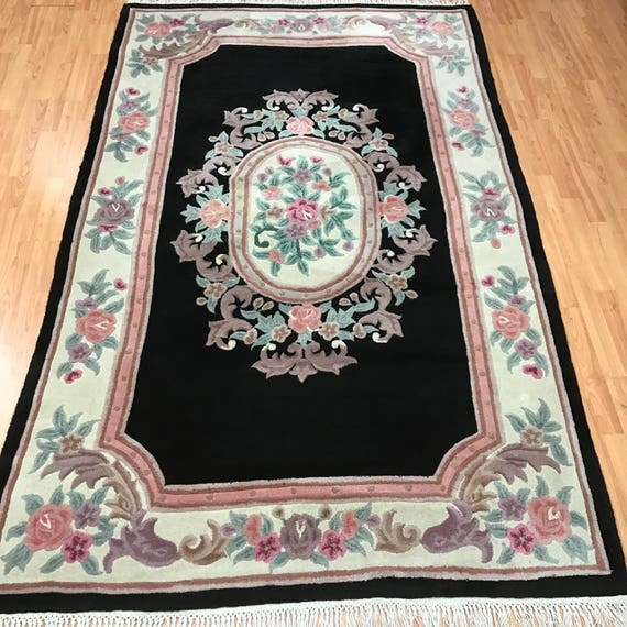 5' x 8' Chinese Aubusson Oriental Rug - Black - Hand Made - 100% Wool