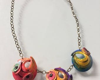 Polymer clay, eye-catching, handmade necklace, in summer colors on copper chain, very decorative