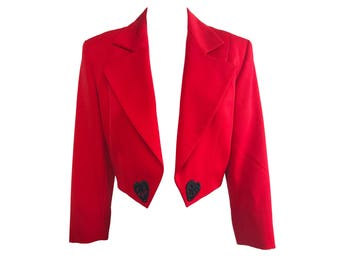 CELINE Vintage 1980s Cropped Red Valentines Jacket Original Tags Attached SZ FR40