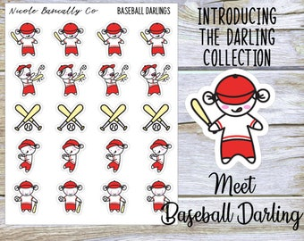 Baseball Player Darlings Planner Stickers