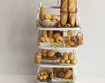 Miniature Dollhouse 1:12th Scale Country Bakery Rack Display
