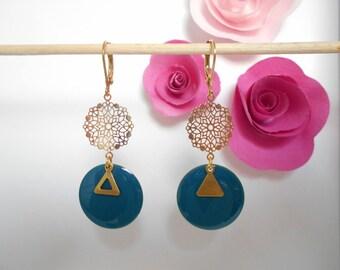 Blue sequin gold charm earrings