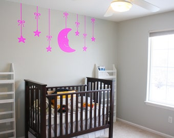 Moon and Stars Wall Decal Nursery based theme - Wall decor for kids rooms, Children playrooms, Nurseries  | Magical Minds Decal Collection