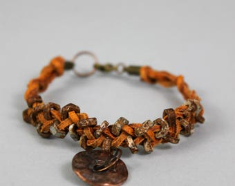 Rustic Mens Bracelet - Vintage Military Wrist Band - Post Apocalyptic Bracelet - Hex Nut Bracelet