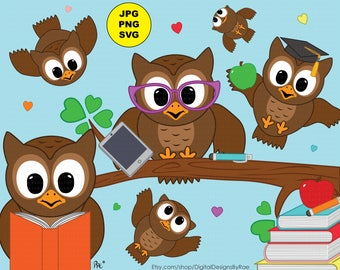 Owls Love to Learn digital clipart set