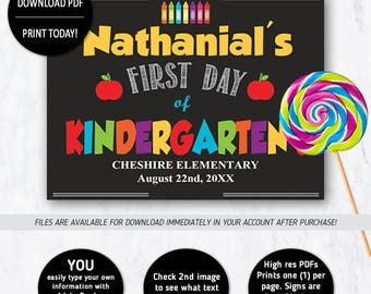 First Day of Kindergarten Sign, 1st Day of School Sign, Instant download