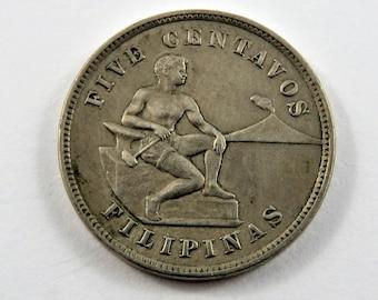 Philippines 1903 5 Centavos Coin.