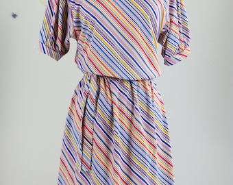 1960s Dress - Vintage Diagonal Striped Primary Colours Dress - M/L - Short Sleeve - Full Skirt - Playful - Button Details - Red Yellow Blue