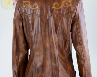 1970s Leather Blazer - Country Western - Brown Leather Vintage Blazer - Embroidered Details - Altman of Dallas - Fall Jacket - Small/Medium