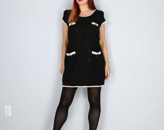 1980s Dress - Short Shift Dress - Joseph Ribkoff - Black - Sequins - Bouclé Knit - Cream Trim - Short Sleeve LBD - Sz Small/Medium