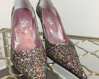 1990s Rainbow Glitter Pumps - Confetti Stiletto High Heel Shoes - Made In Italy - Size 37 EU Size 6.5 US Fun Sparkly Party Evening Shoes