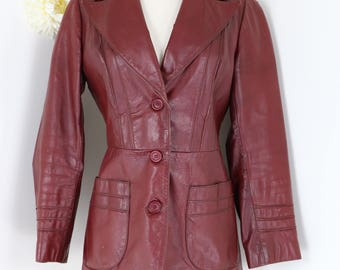 1970s Leather Jacket - Burgundy Red - XS/S - Fitted Leather Blazer -  Mid Length Fall Jacket - Leather Coat - Retro Hipster